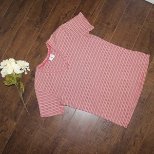 Columbia top, pink and brown vertical stripe shirt
